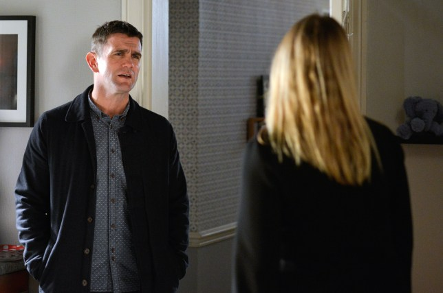 WARNING: Embargoed for publication until 00:00:01 on 23/02/2016 - Programme Name: Eastenders - TX: 01/03/2016 - Episode: 5238 (No. n/a) - Picture Shows: Ronnie is furious that Honey sent Jack a text. Jack Branning (SCOTT MASLEN), Ronnie Mitchell (SAMANTHA WOMACK) - (C) BBC - Photographer: Kieron McCarron