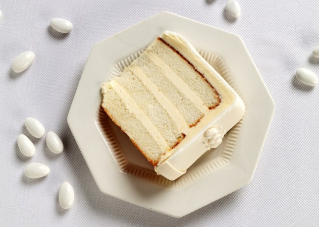 White slice of Wedding Cake and Jordan Almonds
