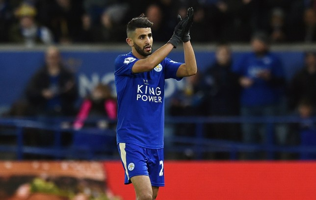 LEICESTER, ENGLAND - FEBRUARY 02: (THE SUN OUT, THE SUN ON SUNDAY OUT) Riyad Mahrez of Leicester City shows his appreciation to the fans at the end of the Barclays Premier League match between Leicester City and Liverpool at The King Power Stadium on February 02, 2016 in Leicester, England. (Photo by Andrew Powell/Liverpool FC via Getty Images)