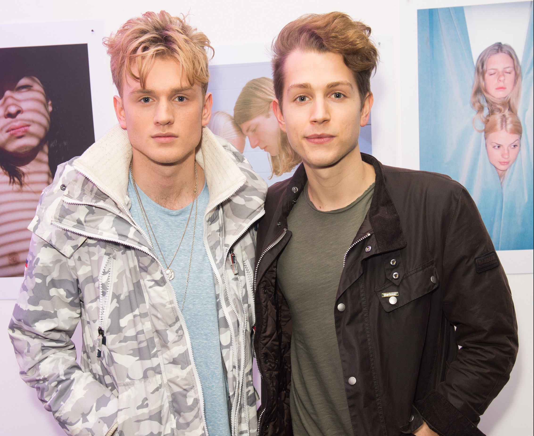 LONDON, ENGLAND - FEBRUARY 20: James McVey and Tristan Evans of The Vamps attend the Urban Outfitters and Centrefold magazine LFW launch party to showcase artists from around the world in a limited edition coffee table magazine and exhibit at Unit London on February 20, 2016 in London, England. (Photo by Samir Hussein/Getty Images for Urban Outfitters)