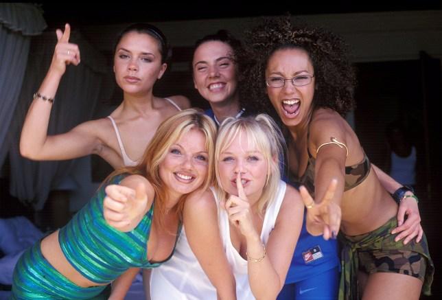 Victoria Beckham, Geri Halliwell, Melanie Brown, Emma Bunton, and Melanie Chisholm of the Spice Girls (Photo by John Stanton/WireImage)