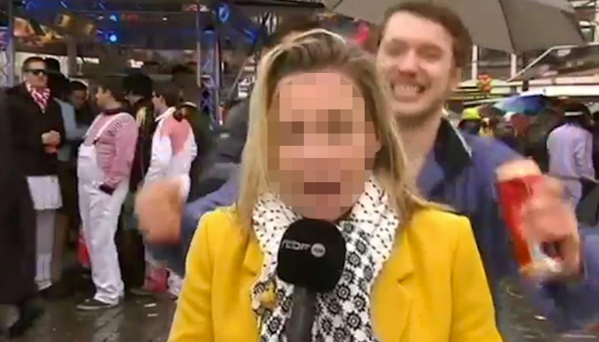 Reporter 'sexually assaulted' live on air Credit: Radio Télévision Belge de la Communauté Française (RTBF)