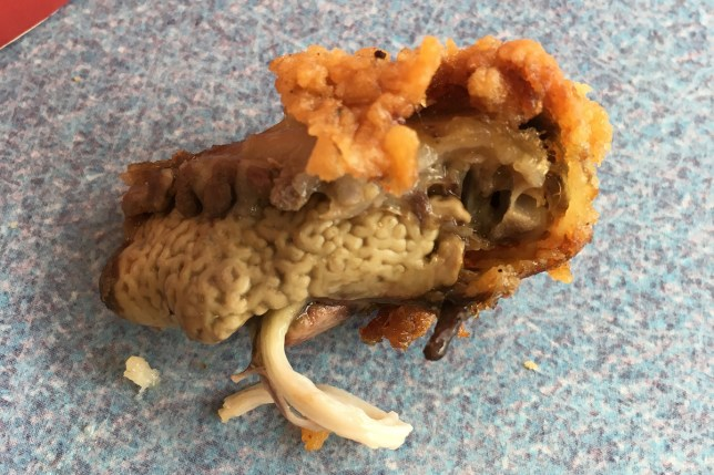 Marc Nicholls- Customer outraged after biting into a 'vile' brain-like flesh at KFC - and then being told by staff that it could be a lung Credit: Marc Nicholls