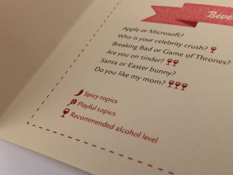 Lovers make date menu which urges more talk and less phone-scrolling