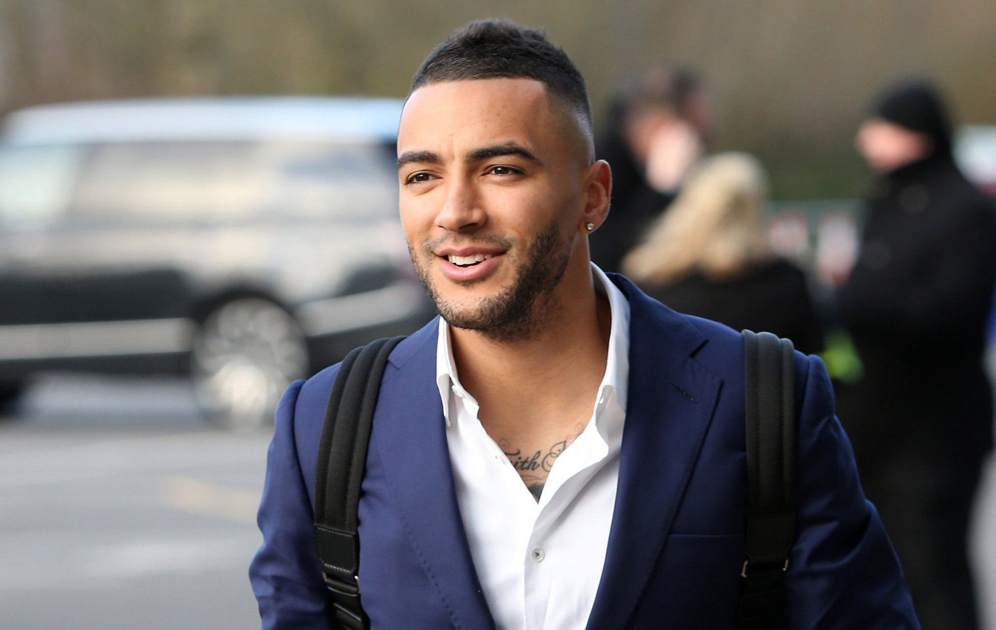 LEICESTER, ENGLAND - FEBRUARY 02 : Danny Simpson arrives at King Power Stadium ahead of the Barclays Premier League match between Leicester City and Liverpool at the King Power Stadium on February 02 , 2016 in Leicester, United Kingdom. (Photo by Plumb Images/Leicester City FC via Getty Images)