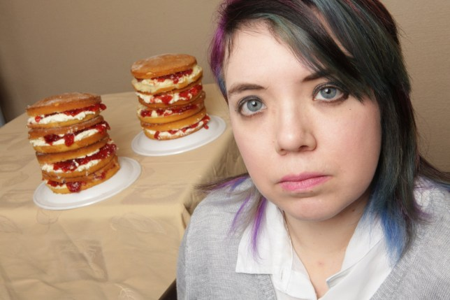 Rachael Lee, 27, from Featherstone in West Yorkshire who has a crippling phobia of cakes that stems from a gateau related childhood trauma. See SWNS story SWCAKE; A woman is appealing for help to overcome her bizarre crippling phobia -- of CAKES. Freaked-out Rachael Lee, 28, was sick after eating a bit of sponge cake when she was just nine months old, and has been terrified ever since. The shop assistant can't walk down the sweet treats aisle at work, and will run out of the room and even suffer a panic attack if someone presents her with a cake. She can't go in bakeries, has to avoid the cake counter in restaurants and can't watch someone eating the stuff without vomiting.