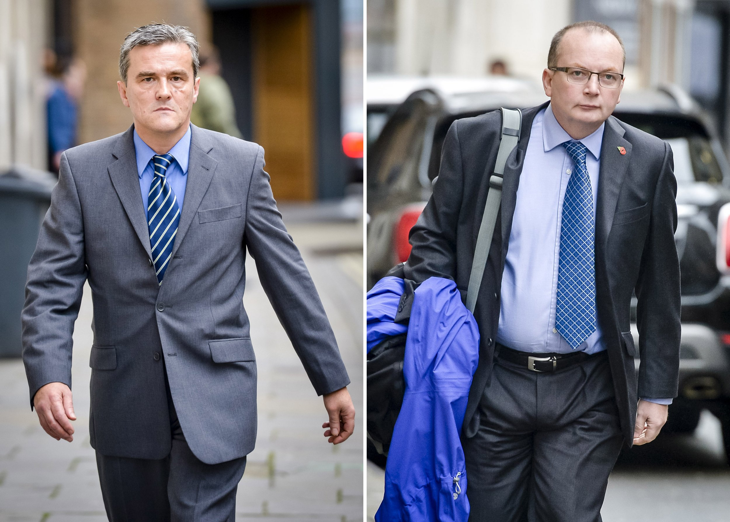 File photos of PCSO Andrew Passmore (left) and police constable Kevin Duffy of Avon and Somerset Police. A police officer and a community support officer are due to be sentenced after being convicted of misconduct following the vigilante murder of a disabled man. PRESS ASSOCIATION Photo. Issue date: Tuesday February 9, 2016. Pc Kevin Duffy, 52, and PCSO Andrew Passmore, 56, were found guilty of misconduct in a public office in connection with the death of Bijan Ebrahimi in Bristol in 2013. Mr Ebrahimi, 44, was beaten to death and his body set on fire by neighbour Lee James, who wrongly believed he was a paedophile. Bristol Crown Court heard Duffy saw Mr Ebrahimi as a liar and a nuisance despite a toxic situation at his home which called for pro-active policing. See PA story COURTS Officers. Photo credit should read: Ben Birchall/PA Wire