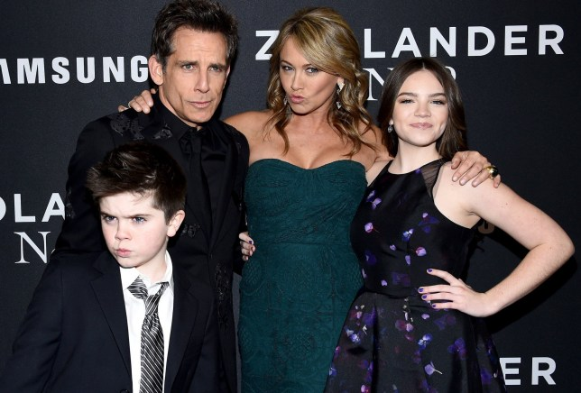 "NEW YORK, NY - FEBRUARY 09: (L-R) Quinlin Stiller, Ben Stiller, Christine Taylor and Ella Stiller attend the ""Zoolander 2"" World Premiere at Alice Tully Hall on February 9, 2016 in New York City. (Photo by Dimitrios Kambouris/Getty Images)"