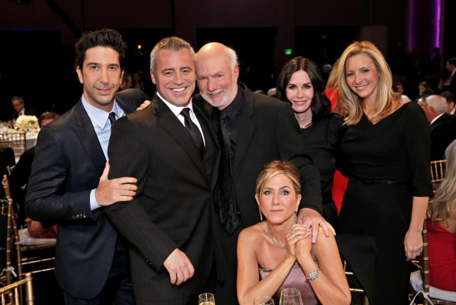 MUST SEE TV: AN ALL-STAR TRIBUTE TO JAMES BURROWS -- Pictured: (l-r) David Schwimmer, Matt LeBlanc, James Burrows, Jennifer Aniston, Courteney Cox, Lisa Kudrow -- (Photo by: Chris Haston/NBC/NBCU Photo Bank via Getty Images)