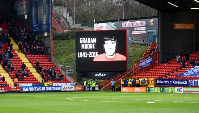 Tributes to Graham Moore on the screens.