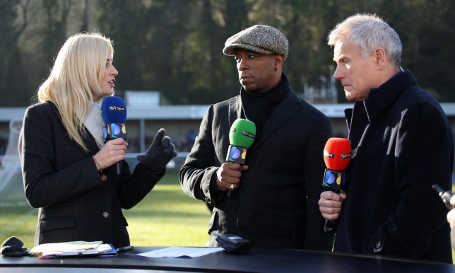 DOVER ENGLAND - JANUARY 04 : BT Sport presenters Lynsey Hipgrave, Ian Wright and Peter Taylor before the FA Cup Third Round match between Dover Athletic and Crystal Palace at the Crabble Stadium on January 04, 2015 in Dover, United Kingdom. (Photo by Mark Leech/Getty Images)