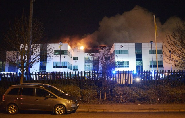 """BEST QUALITY AVAILABLE Handout photo issued by West Midlands Fire Service (WMFS) of firefighters tackling a severe fire on Wingfoot Way by The Fort in Bromford, Birmingham. PRESS ASSOCIATION Photo. Picture date: Thursday February 18, 2016. WMFS said the fire, does not involve tyres, tweeting that """"the building is used for car parts with the fire located in the office area"""". See PA story FIRE Tyres. Photo credit should read: Michael Scott/WMFS/PA Wire NOTE TO EDITORS: This handout photo may only be used in for editorial reporting purposes for the contemporaneous illustration of events, things or the people in the image or facts mentioned in the caption. Reuse of the picture may require further permission from the copyright holder."""