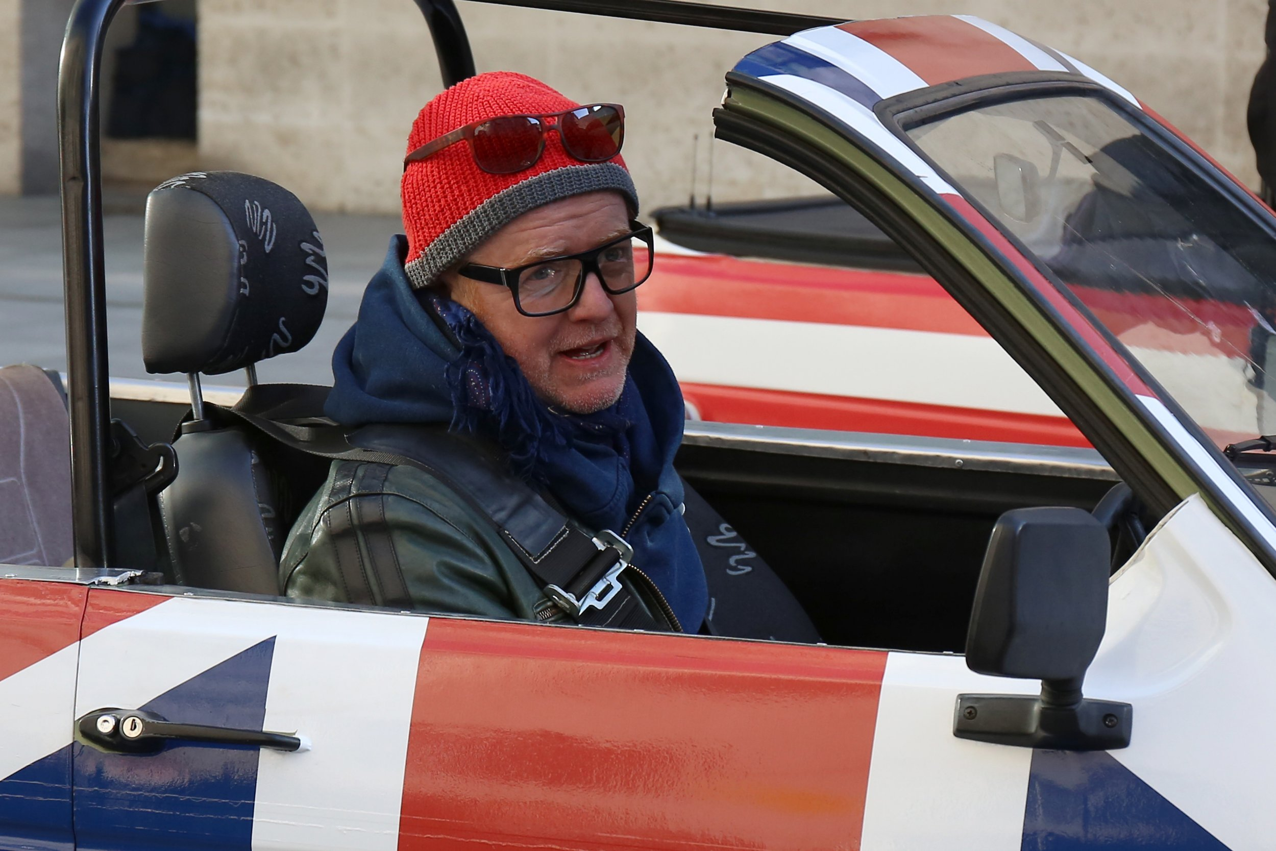 LONDON, ENGLAND - FEBRUARY 19: Chris Evans seen filming Top Gear outside BBC Broadcasting House on February 19, 2016 in London, England. (Photo by Neil Mockford/GC Images)