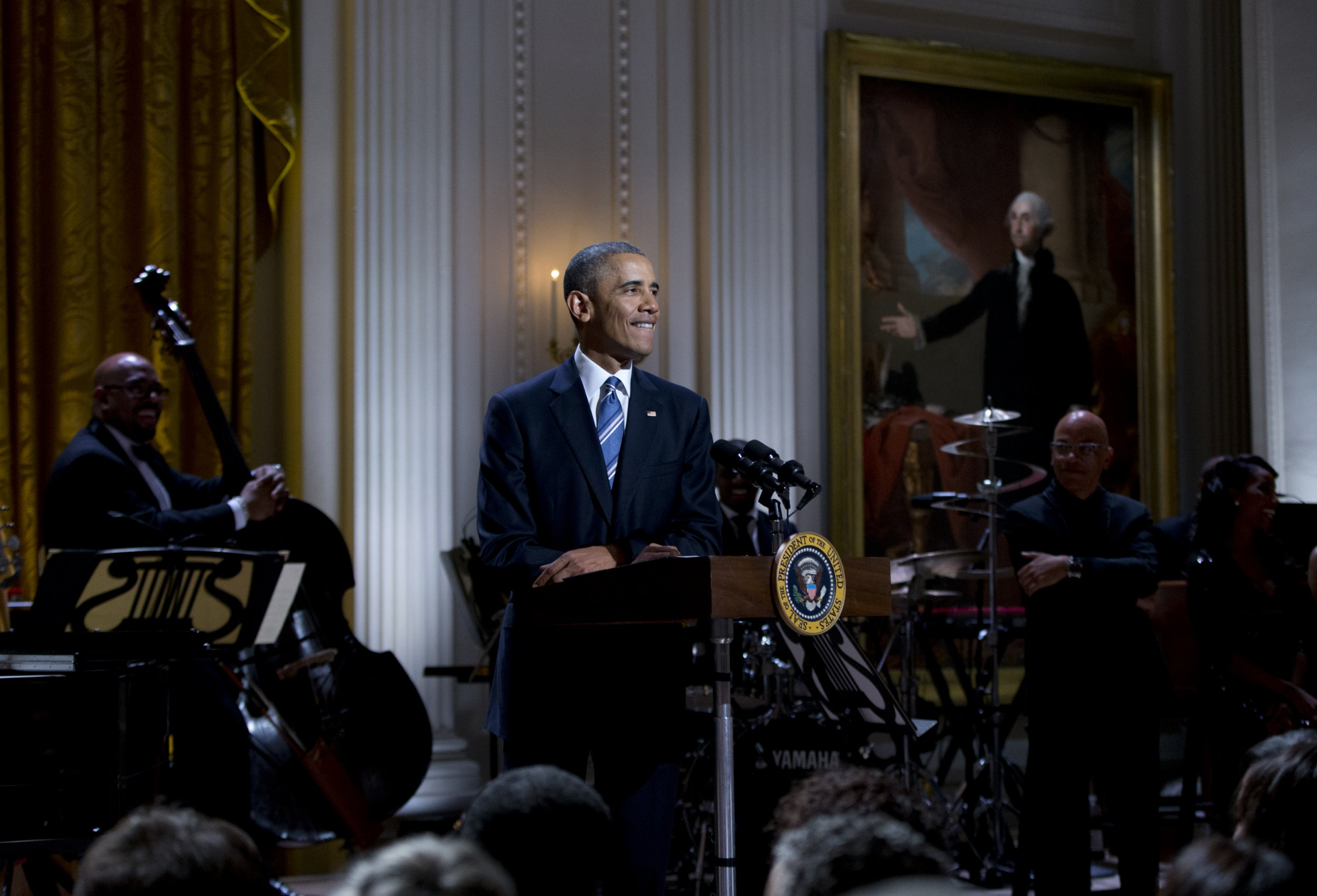President Barack Obama pauses as he speaks as he and first lady Michelle Obama host the In Performance at the White House series in the East Room of the White House, in Washington, Wednesday, Feb. 24, 2016. The event celebrates the iconic singer, songwriter, composer and musician Ray Charles. (AP Photo/Carolyn Kaster)