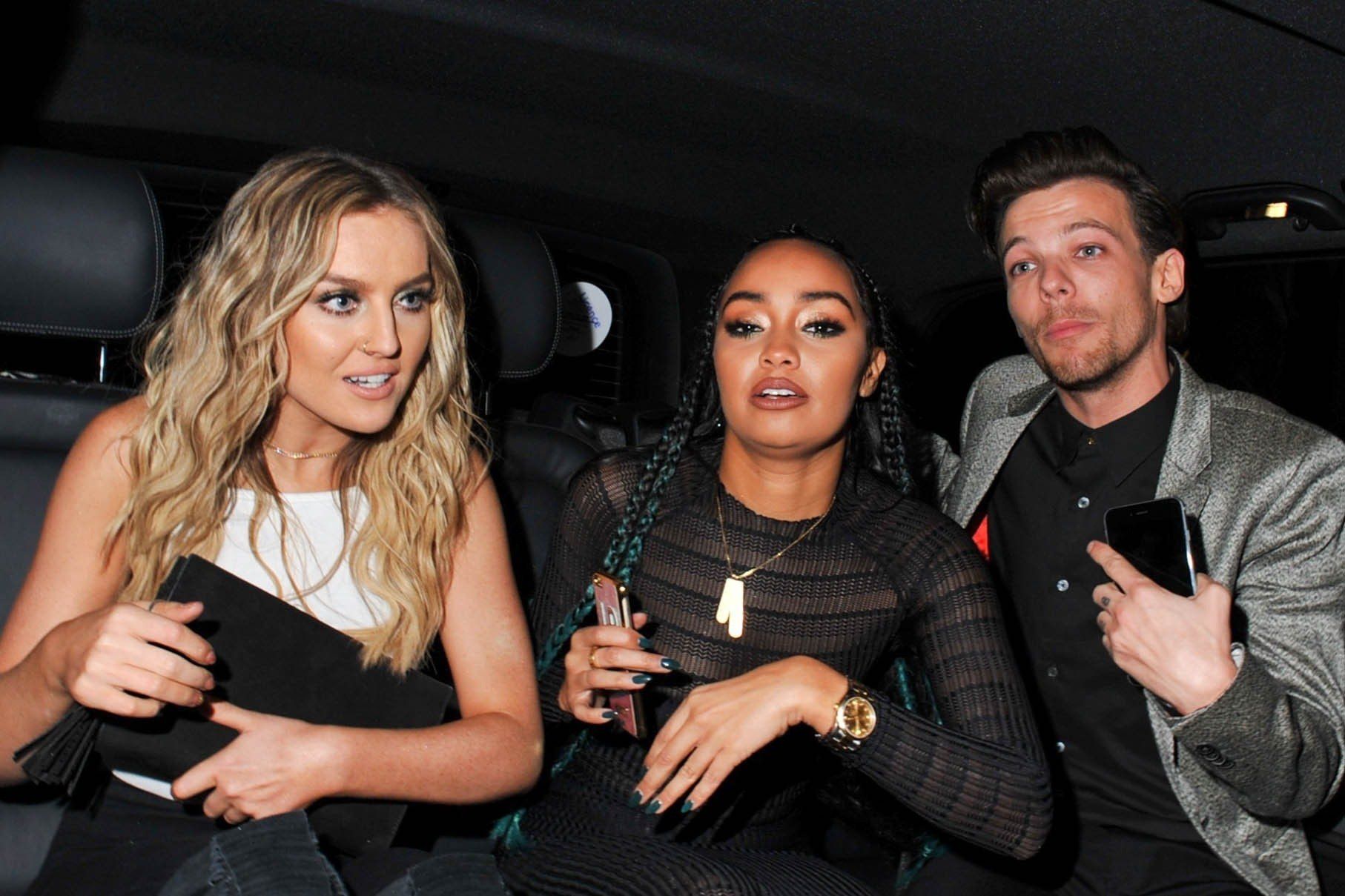 Picture Shows: Perrie Edwards, Leigh-Anne Pinnock, Louis Tomlinson February 25, 2016 Celebrities spotted at the Universal Music Brit Awards After Party in London, England. Non Exclusive WORLDWIDE RIGHTS Pictures by : FameFlynet UK © 2016 Tel : +44 (0)20 3551 5049 Email : info@fameflynet.uk.com