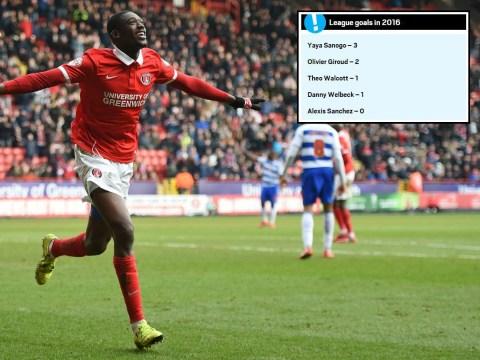 Yaya Sanogo has more league goals in 2016 than any Arsenal striker
