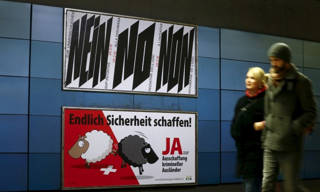 "Switzerland is voting on whether to deport foreigners for two minor crimes like traffic violations. A poster of Swiss People's Party (SVP), demanding to vote for an initiative to deport criminal foreigners, is placed underneath another one against it at the central railway station in Zurich, Switzerland February 12, 2016. Switzerland will hold a binding referendum later this month on whether to subject any foreign resident to automatic deportation if convicted of offences running the gamut from murder to breaking the speed limit. The poster on top reads, ""Say no to the inhuman SVP initiative"" and the one underneath, ""At last make things safer! Say yes to deportation of criminal foreigners"". REUTERS/Arnd Wiegmann - RTX27AX6"