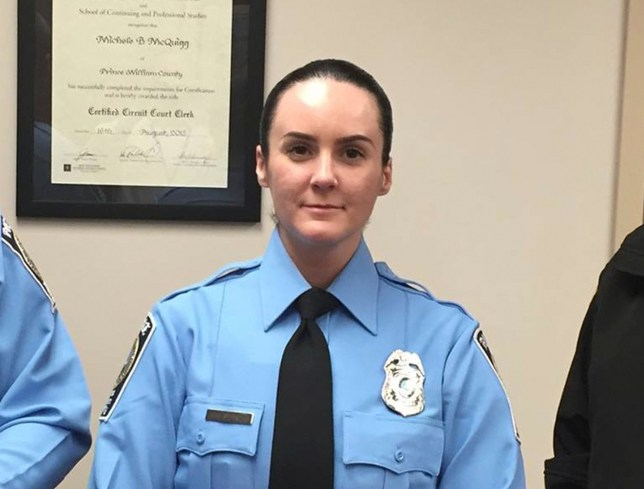 Officer Ashley Guindon is pictured having been sworn in by the Prince William County Police Department in this photo released on February 26, 2016. Three Virginia police officers were shot, one of them fatally on her first day on the job, when they responded to a domestic incident on Saturday, authorities said. Guindon later died of her injuries, the department said. REUTERS/Prince William Co PD/Handout via Reuters FOR EDITORIAL USE ONLY. NOT FOR SALE FOR MARKETING OR ADVERTISING CAMPAIGNS. THIS IMAGE HAS BEEN SUPPLIED BY A THIRD PARTY. THIS PICTURE WAS PROCESSED BY REUTERS TO ENHANCE QUALITY. AN UNPROCESSED VERSION HAS BEEN PROVIDED SEPARATELY