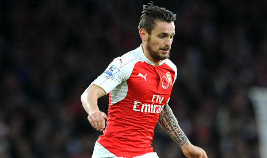 Manchester United scout Arsenal's Mathieu Debuchy during loan