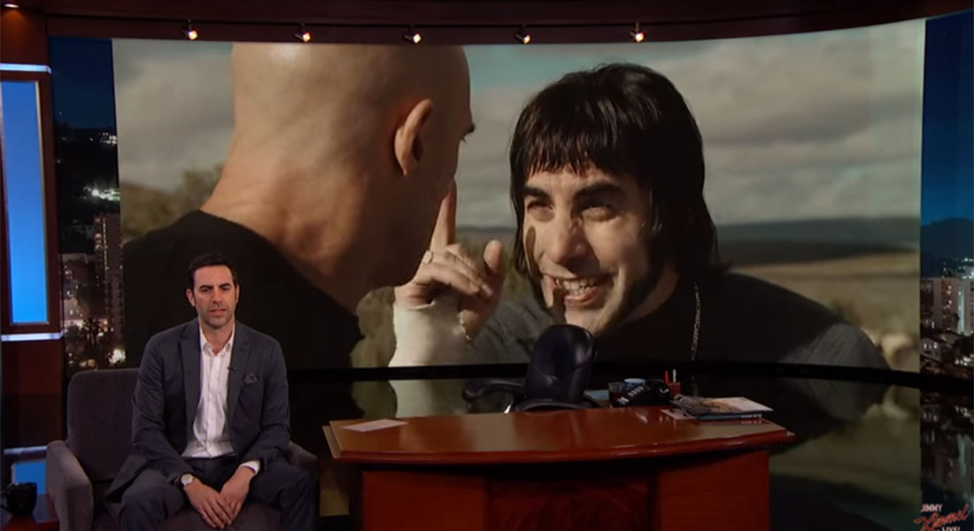 Sacha Baron Cohen shows X-rated Grimsby clip on Jimmy Kimmel – but they only aired the audience reaction