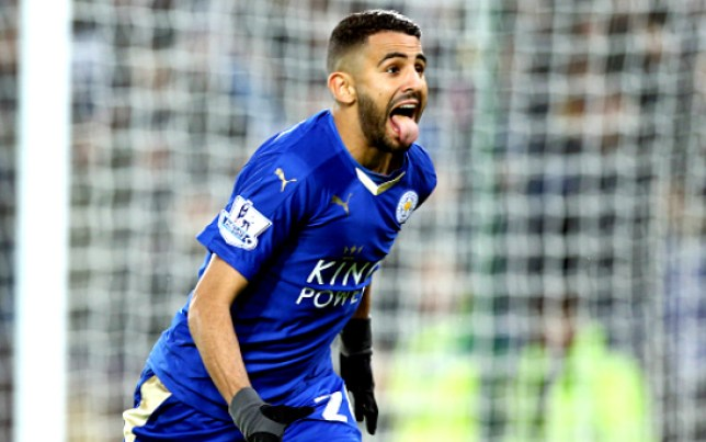 LEICESTER, ENGLAND - DECEMBER 14: GOAL Riyad Mahrez of Leicester City celebrates after scoring to make it 2-0 during the Barclays Premier League match between Leicester City and Chelsea at the King Power Stadium on December 14th , 2015 in Leicester, United Kingdom. (Photo by Plumb Images/Leicester City FC via Getty Images)