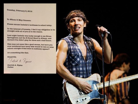 Super cool dad writes note explaining daughter's lateness after Springsteen gig