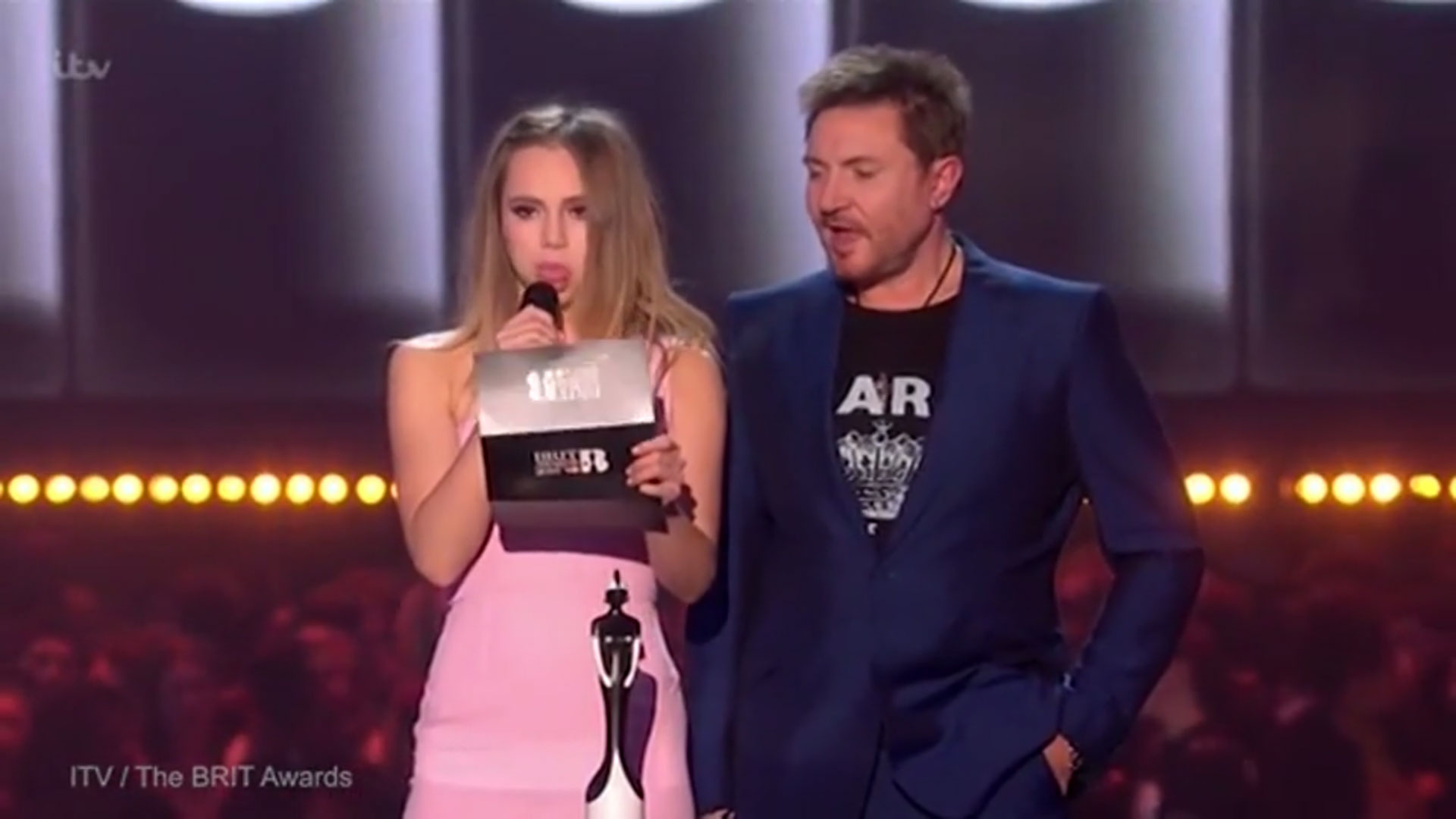 Brit Awards 2016: Suki Waterhouse fluffed her lines as she presented the 'breast British single'