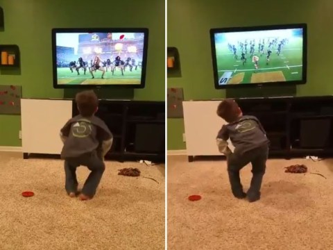This little boy trying to move like Beyonce at the Super Bowl is all of us