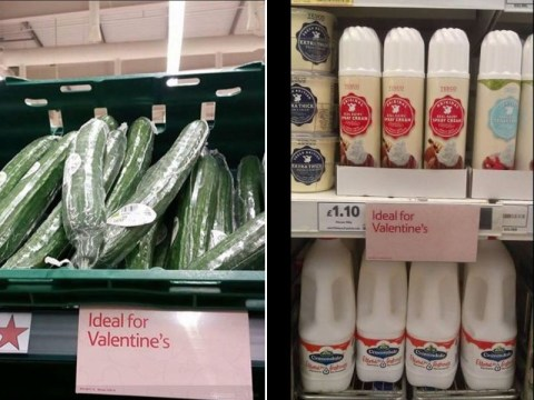 Tesco has taken it too far with this 'ideal for Valentine's' sign in the cucumber aisle