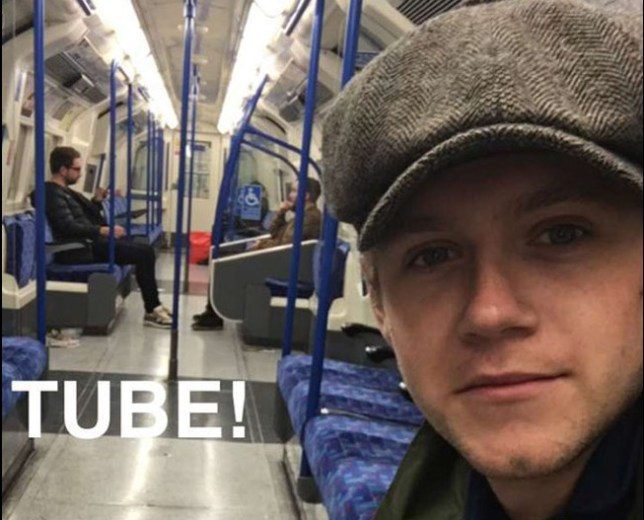 Niall Horan takes the tube Credit: Snapchat/nialler1993