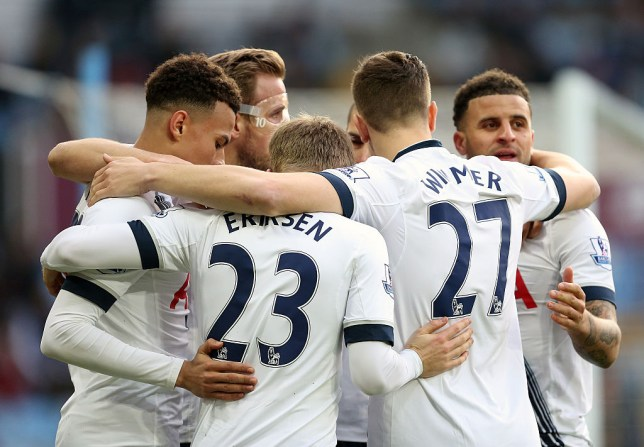 BIRMINGHAM, ENGLAND - MARCH 13: Harry Kane of Tottenham Hotspur celebrates with his team-mates after scoring a goal to make it 0-2 during the Barclays Premier League match between Aston Villa and Tottenham Hotspur at Villa Park on March 13, 2016 in Birmingham, England. (Photo by James Baylis - AMA/Getty Images)