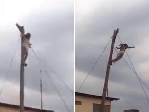 Jesus falls off cross during Easter crucifixion show