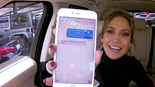 """****Ruckas Videograbs**** (01322) 861777 *IMPORTANT* Please credit CBS for this picture. 30/03/16 The Late Late Show with James Corden Grabs from en exclusive web version of last night's Carpool Karaoke which starred Jennifer Lopez. J.Lo and James Corden sang along to some of her biggest hits, including """"Jenny From The Block"""" and """"On The Floor"""" before she allowed Corden to go through her phone contacts. After scrolling through and seeing the likes of Iggy Azalea, Bradley Cooper, Demi Lovato, Cristiano Ronaldo, Fergie, Chris Brwon and Dwayne 'The Rock' Johnson, Corden sent a text to Leonardo DiCaprio which said ìHey baby, Iím kind of feeling like I need to cut loose. Any suggestions? Let me know, J.Lo (From the Block)."""" Leo replied to the text and said """"You mean tonight boo boo? Club wise?"""" Office (UK) : 01322 861777 Mobile (UK) : 07742 164 106 **IMPORTANT - PLEASE READ** The video grabs supplied by Ruckas Pictures always remain the copyright of the programme makers, we provide a service to purely capture and supply the images to the client, securing the copyright of the images will always remain the responsibility of the publisher at all times. Standard terms, conditions & minimum fees apply to our videograbs unless varied by agreement prior to publication."""
