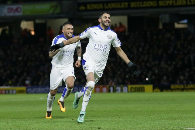 Leicesterís Riyad Mahrez celebrates after scoring a goal during the English Premier League soccer match between Watford and Leicester City at the Vicarage Road stadium in London, Saturday, March 5, 2016. (AP Photo/Tim Ireland)