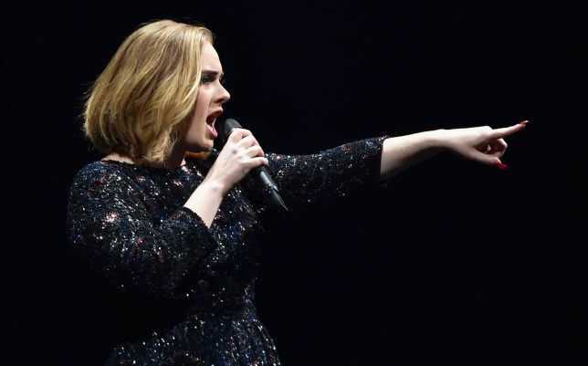 LONDON, ENGLAND - MARCH 15: Singer Adele performs on stage at The O2 Arena on March 15, 2016 in London, England. (Photo by Gareth Cattermole/Getty Images)