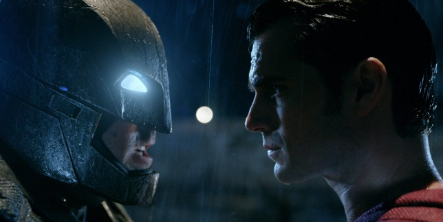 "This image released by Warner Bros. Pictures shows Ben Affleck, left, and Henry Cavill in a scene from, ""Batman v Superman: Dawn of Justice."" (Warner Bros. Pictures via AP)"