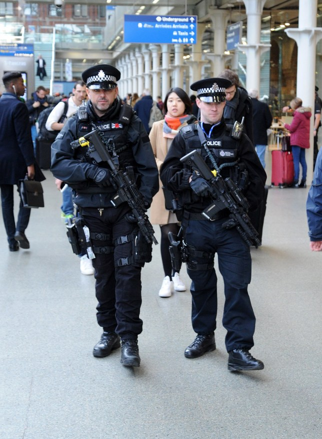Extra armed police are brought into Eurostar where long queues formed for trains into Europe due to terrorist attacks in Brussels earlier Featuring: Armed Police at Eurostar Where: London, United Kingdom When: 22 Mar 2016 Credit: Tony Oudot/Wenn.com