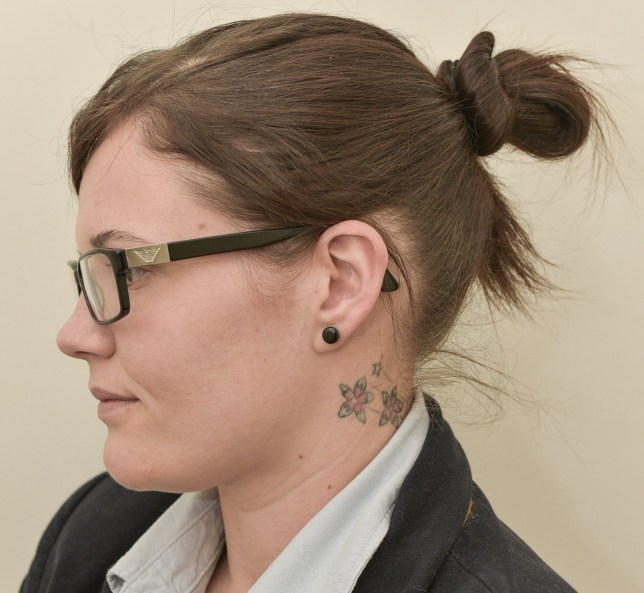 PIC BY MICHAEL SCOTT/ CATERS NEWS - (PICTURED: Laura Hills tattoo) - A patriotic woman willing to put her life on the line for Queen and country is devastated after being rejected from landing her dream job in the RAF because of a TATTOO. Laura Hill, from Faringdon, Oxon, was instantly dismissed as a potential recruit when senior officers spotted the star-shaped flower tattoos on her neck during an interview. Laura, who works as an accounts advisor at Oxford University, said shes always dreamed of joining the air force - and was gutted when she was told that because it would be seen above the neckline of her parade uniform it prevented her from joining. Laura, 27, has now launched a petition in a bid to convince the RAF to relax its rules and bring them in line with the revised army policy which allows hand and neck tattoos. SEE CATERS COPY.