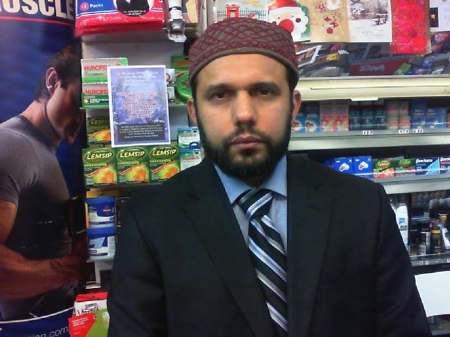 "Collect of Asad Shah who was stabbed to death outside his Glasgow newsagents only hours after posting a Happy Easter message on social media. See SWNS story SWMUSLIM; A popular Muslim shopkeeper has been stabbed to death in the street - just four hours after wishing ""a very happy Easter to my beloved Christian nation"". Peace-loving Asad Shah, 40, was set upon with a knife and had his head stamped on in a shocking attack outside his Glasgow newsagents shop just after 9pm last night (Thurs). The appalling attack came just hours after deeply religious Mr Shah, who was keen to reach out from the Muslim community to Christian neighbours, posted heartfelt Easter messages on social media. And the messages revealed that he was today (Friday) due to be hosting a Google hangout with Christian friends about the importance of Easter."