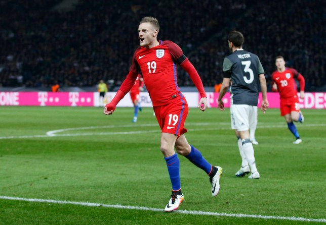 Football Soccer - Germany v England - International Friendly - Olympiastadion, Berlin, Germany - 26/3/16 Jamie Vardy celebrates after scoring the second goal for England Action Images via Reuters / Carl Recine Livepic EDITORIAL USE ONLY.