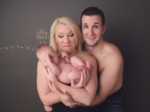 Family photoshoot goes slightly wrong thanks to projectile call of nature
