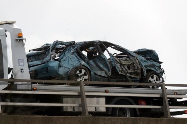 Car Crash Through A1m Bridge Into River Don South Yorkshire