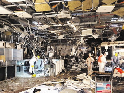 Photos show damage inside Brussels airport terminal after bombing
