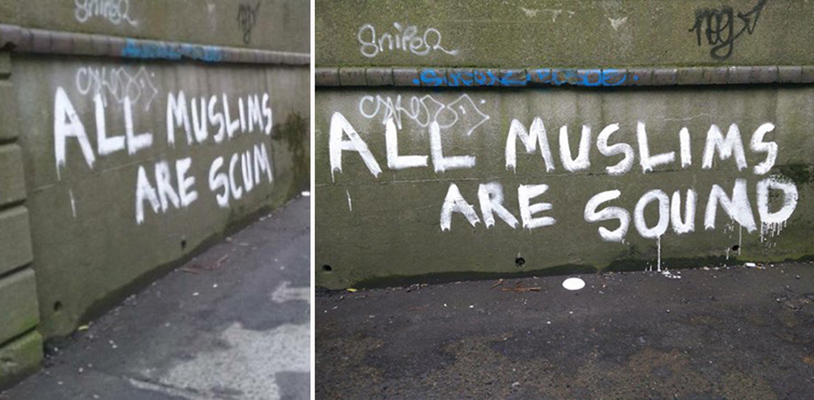 Anti-Muslim graffiti gets swiftly corrected in the best way possible