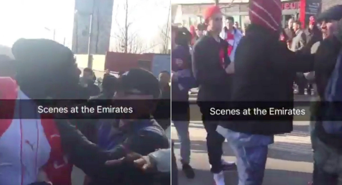 Arsenal fans brawl outside Emirates after FA Cup defeat to Watford