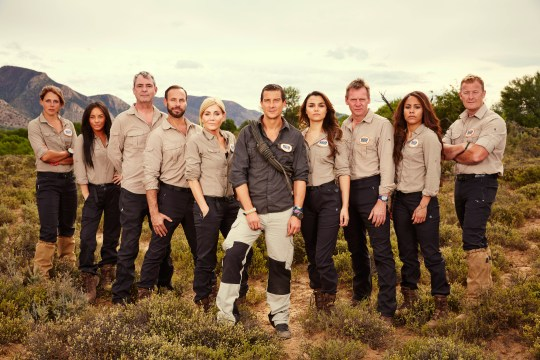 From betty Bear Grylls: Mission Survive: SR2 on ITV. Pictured: Meg Hines, Chelsee Healey, Neil Morrisey, Jason Gardiner, Michelle Collins, Bear Grylls, Samantha Barks, Stuart Pearce, Alex Scott and Scott Heffield. This photograph is (C) betty and can only be reproduced for editorial purposes directly in connection with the programme or event mentioned above or ITV plc. Once made available by ITV plc Picture Desk, this photograph can be reproduced once only up until the transmission [TX] date and no reproduction fee will be charged. Any subsequent usage may incur a fee. This photograph must not be manipulated [excluding basic cropping] in a manner which alters the visual appearance of the person photographed deemed detrimental or inappropriate by ITV plc Picture Desk. This photograph must not be syndicated to any other company, publication or website, or permanently archived, without the express written permission of ITV Plc Picture Desk. Full Terms and conditions are available on the website www.itvpictures.com For further information please contact: james.hilder@itv.com / 0207 157 3052