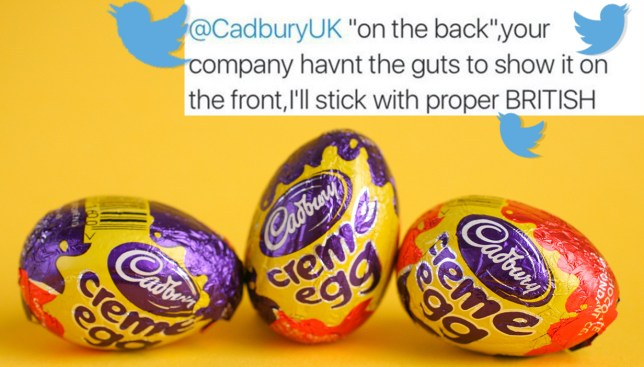 Twitter reaction: People are upset that Cadbury's has moved the word Easter to the back of their eggs Credit: Alamy