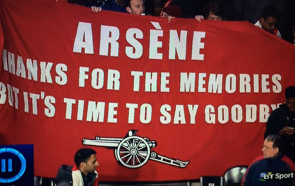 Arsenal fans hold up Arsene Wenger out banner despite 4-0 win over Hull