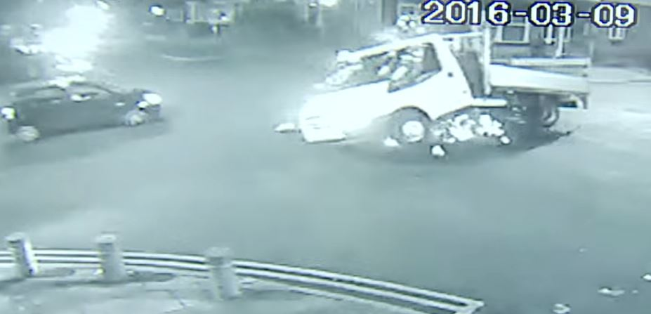 The car crash was filmed on CCTV (Picture: SWNS)