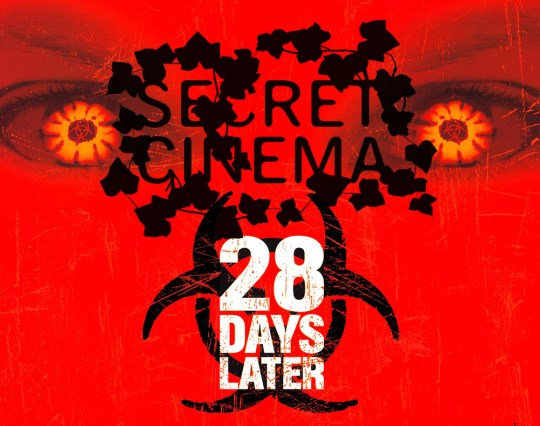 comp of secret cinema logo and the 28 days later poster